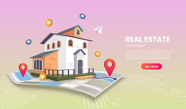 Strona aplikacji szablony stron docelowych nieruchomości. baner internetowy, infografiki, obrazy bohaterów. obraz bohatera na stronie internetowej.