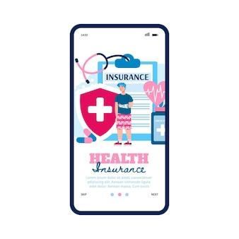 Strona aplikacji usług ubezpieczenia zdrowotnego z płaską ilustracją człowieka