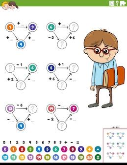 Strona arkusza edukacyjnego z obliczeniami matematycznymi z komiksowym chłopcem