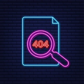Strona błędu 404 nie została znaleziona neon. ilustracja wektorowa