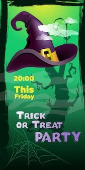 Strona cukierek albo psikus w ten piątek napis. kapelusz czarownicy i pajęczyna