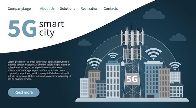 Strona docelowa 5g innowacyjne inteligentne miasto.