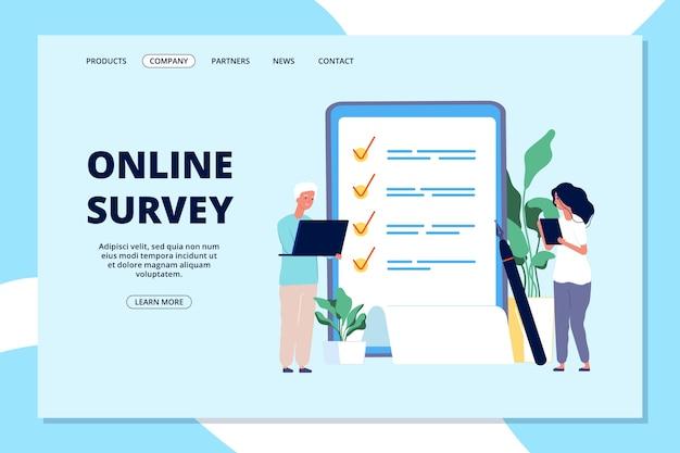 Strona docelowa ankiety online. lista wyboru, kwestionariusz jakości. ludzie odpowiadający na pytanie, biznesowy baner internetowy marketingu internetowego. badania ilustracyjne i opinie, ankieta na liście kontrolnej