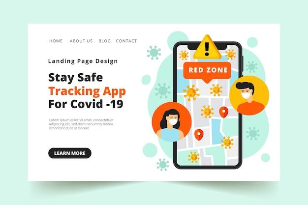 Strona docelowa aplikacji do śledzenia lokalizacji koronawirusa