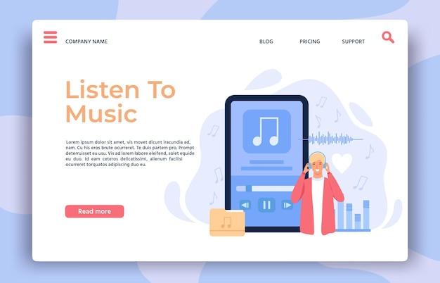 Strona docelowa aplikacji muzycznej. człowiek z słuchawkami słuchania listy odtwarzania, piosenek lub podcastów radiowych na telefonie komórkowym, koncepcja wektor odtwarzacza audio online. muzyka online w aplikacji, aplikacja do słuchania ilustracji podcastów