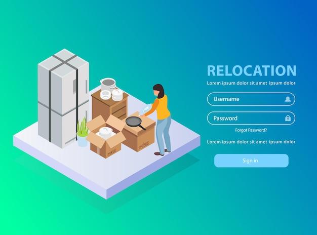 Strona docelowa aplikacji usługi relokacji z ilustracją izometryczną nazwy użytkownika i hasła