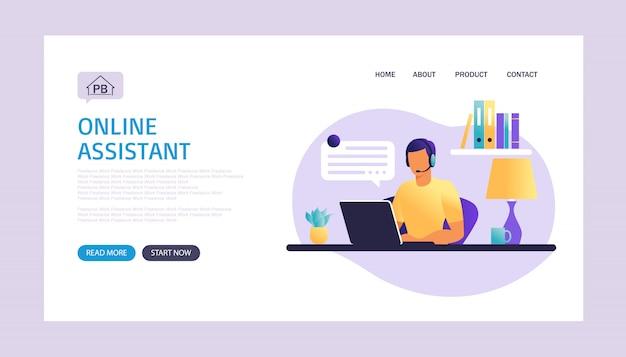 Strona docelowa asystenta online. mężczyzna z hełmofonami z komputerem. ilustracja koncepcja wsparcia, pomocy, call center. usługa wirtualnej pomocy. ilustracja w mieszkaniu.