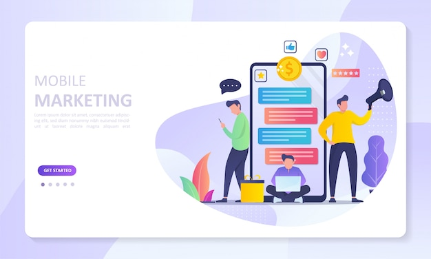 Strona docelowa banera marketingu mobilnego