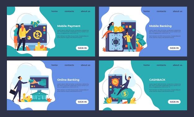 Strona docelowa bankowości internetowej. doradztwo finansowe, koncepcja płatności internetowych i transakcji bankowych. strony internetowe z ilustracjami wektorowymi