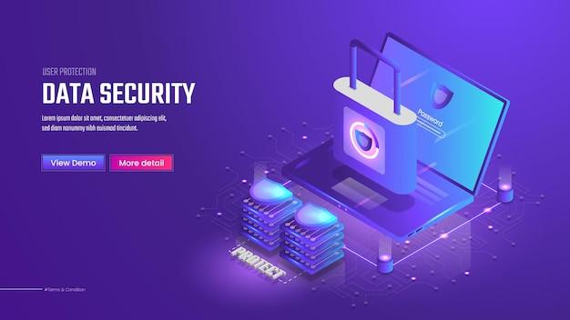 Strona docelowa bezpieczeństwa danych izometrycznych 3d