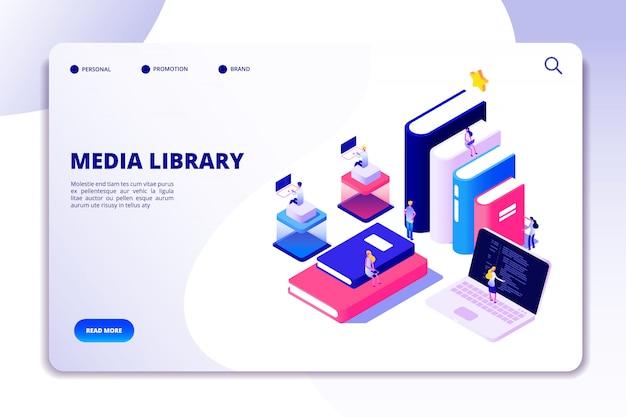 Strona docelowa biblioteki online. studenci w bibliotece, książkach akademickich. ebook czytania technologii edukacji wektor izometryczny koncepcja