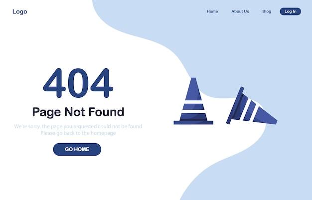 Strona docelowa błędu 404 ze stożkami drogowymi w płaskiej konstrukcji