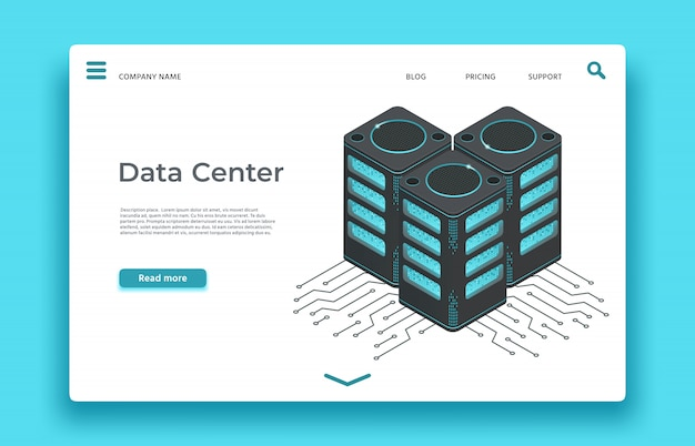 Strona docelowa centrum danych. serwery izometryczne