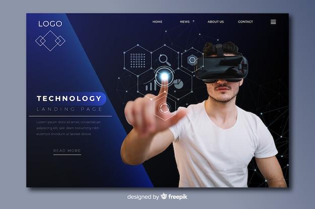 Strona docelowa ciemnej technologii ze zdjęciem okularów vr