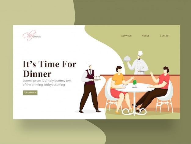 """Strona docelowa """"czas na kolację"""" z porcją szefa kuchni, mężczyzną i kobietą siedzących przy stoliku w restauracji."""