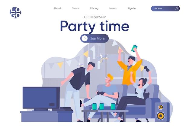 Strona docelowa czasu imprezy z nagłówkiem. szczęśliwi przyjaciele bawią się, rozmawiają i piją, grają w gry wideo. studenci relaksują się i radośnie spędzają czas razem sytuacji płaskiej ilustracji.
