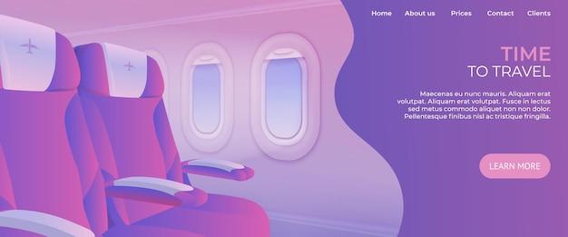 Strona docelowa czasu podróży. widok ze strony internetowej projektowania usług reklamowych samolotów.