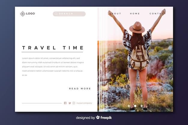 Strona docelowa czasu podróży ze zdjęciem