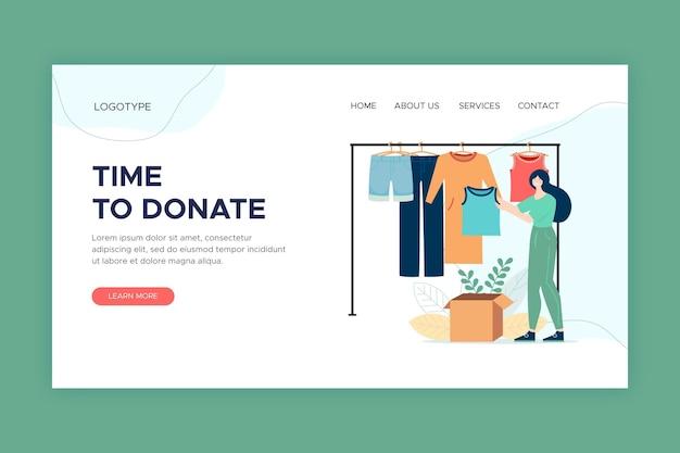 Strona docelowa darowizn w postaci odzieży