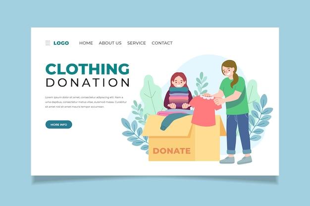 Strona docelowa darowizn w postaci płaskiej odzieży