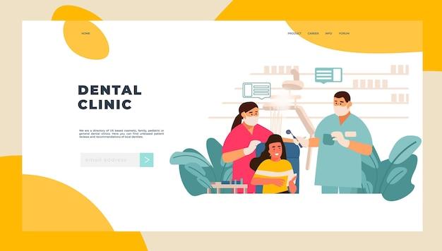 Strona docelowa dentysty. badanie pacjenta w gabinecie lekarskim, pielęgnacja zębów i kontrola stomatologiczna