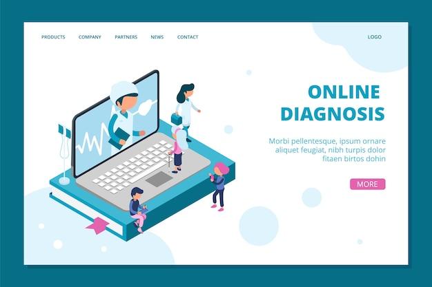Strona docelowa diagnostyki online. szablon sieci web izometryczny lekarz online. medycyna, koncepcja opieki zdrowotnej z ludźmi. diagnostyka ilustracji izometryczna, komunikacja konsultanta izometrii