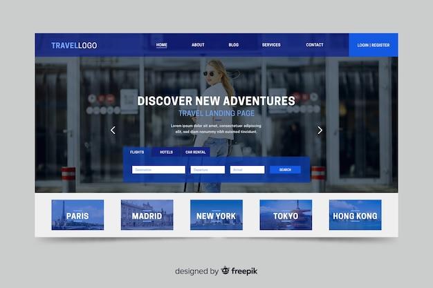Strona docelowa dla podróżującej strony internetowej ze zdjęciem