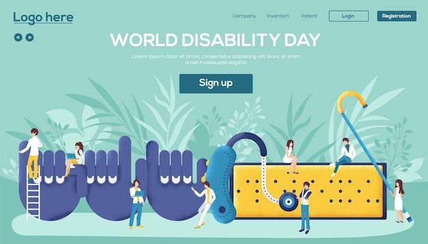 Strona Docelowa Dnia Niepełnosprawności Premium Wektorów