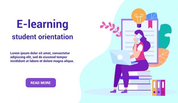 Strona docelowa do e-learningu z kobietą communicates online. obraz reklamowy dla witryny.