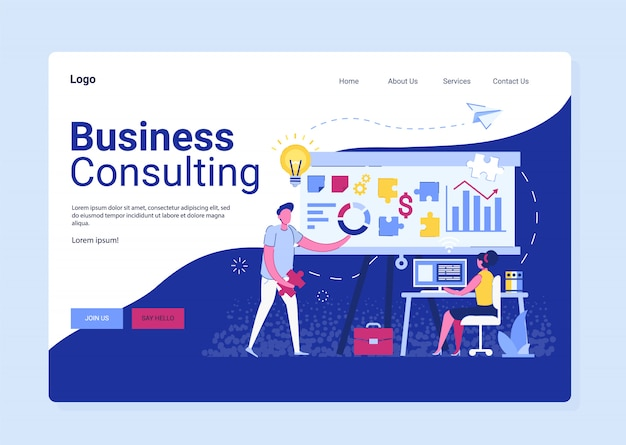 Strona docelowa doradztwa biznesowego, strategia badań. współpraca biznesmena, konsultant i serwis rozwiązań, technologia komunikacji osób
