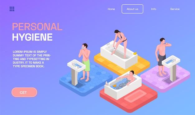 Strona docelowa dotycząca higieny osobistej z ilustracją izometryczną z symbolami kąpieli i mycia rąk
