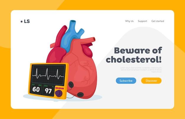 Strona docelowa dotycząca wysokiego poziomu cholesterolu i miażdżycy