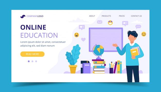Strona docelowa edukacji online. męski nauczyciel z książkami i chalkboard.