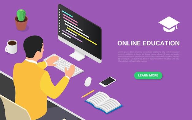 Strona docelowa edukacji online. mężczyzna prowadzi kurs programowania.