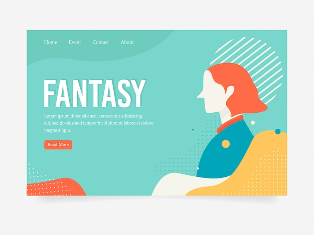 Strona docelowa fantasy w stylu płaskiej