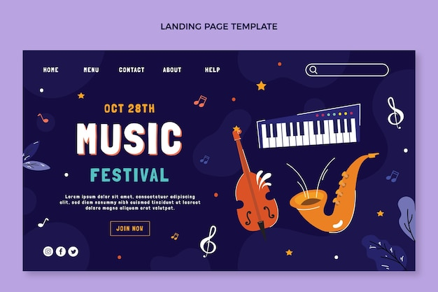 Strona docelowa festiwalu muzycznego z instrumentami