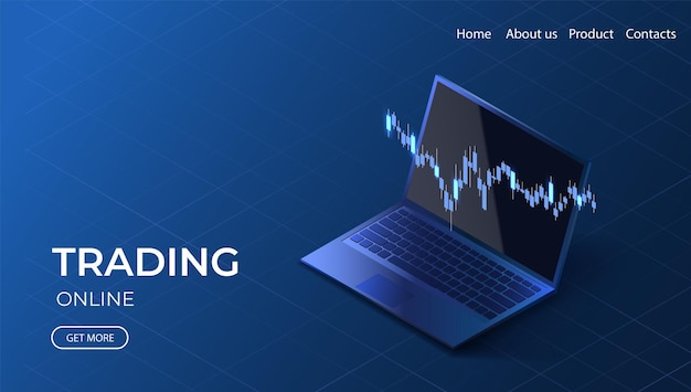 Strona docelowa handlu online wykres danych wzrostu izometryczna ilustracja inwestycji