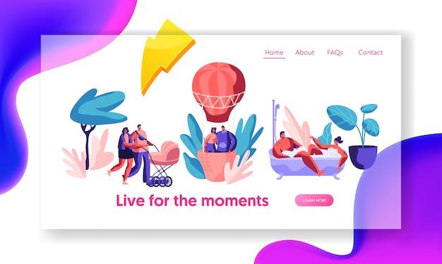 Strona docelowa happy life moments. mężczyzna i kobieta kąpieli z bańki. miłość para latać balonem w niebo. spacer z rodziną z wózkiem dziecięcym. witryna lub strona internetowa. ilustracja wektorowa płaski kreskówka