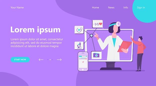Strona docelowa, ilustracja wektorowa pomocy medycznej online. człowiek za pomocą aplikacji na smartfony do konsultacji z lekarzem. mężczyzna pacjent rozmawia z lekarzem w internecie