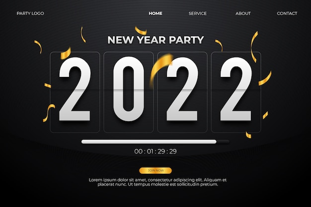 Strona docelowa imprezy noworocznej 2022 ze stylem odliczania czasu w czarnym tle