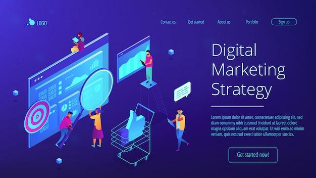 Strona docelowa izometrycznej strategii marketingu cyfrowego.