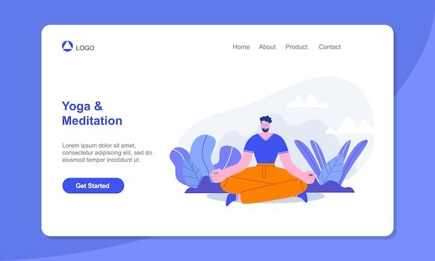 Strona docelowa jogi mężczyzna medytujący w pozycji lotosu na świeżym powietrzu joga zdrowy tryb życia relaks równowaga emocjonalna