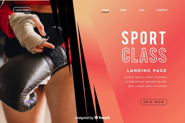 Strona docelowa klasy sportowej ze zdjęciem