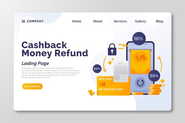 Strona docelowa koncepcji cashback