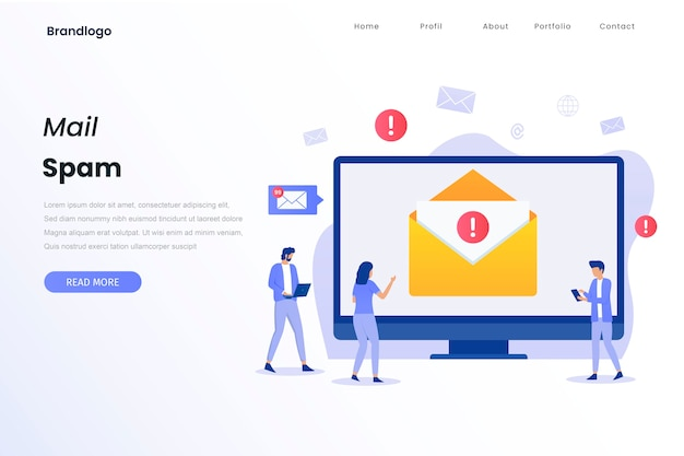 Strona docelowa koncepcji ilustracji spamu poczty