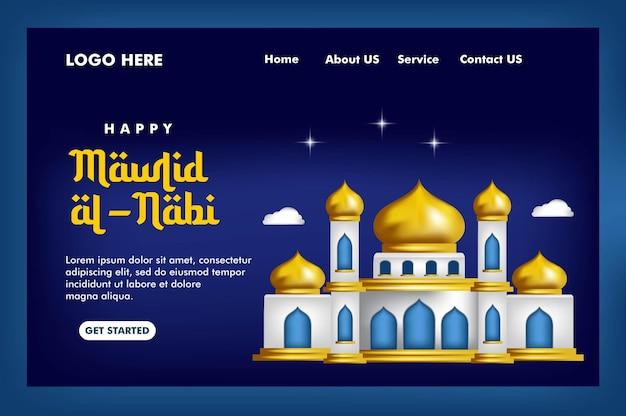 Strona docelowa koncepcji islamskiej z tłem meczetu