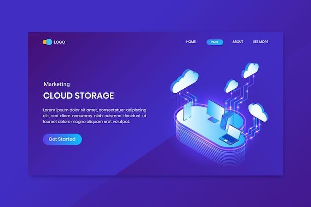 Strona docelowa koncepcji izometrycznej cloud storage