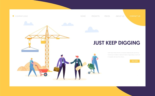 Strona docelowa koncepcji procesu pracy budowy firmy. postać budowniczego w mundurze pracy w pobliżu dźwigu. mężczyzna w garniturze zrób umowę handlową na stronę internetową lub stronę internetową. ilustracja wektorowa płaski kreskówka