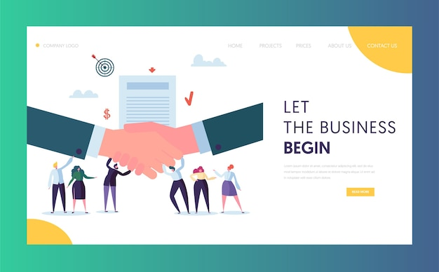 Strona docelowa koncepcji współpracy handlowej. ludzie znaków stanąć na biznesmena ściskając rękę. witryna lub strona sieci web z symbolem zaufania. sukces deal płaskie kreskówka wektor ilustracja