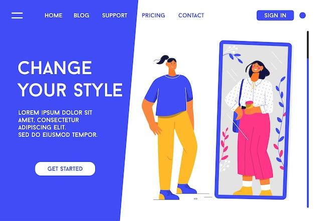 Strona docelowa koncepcji zmień swój styl